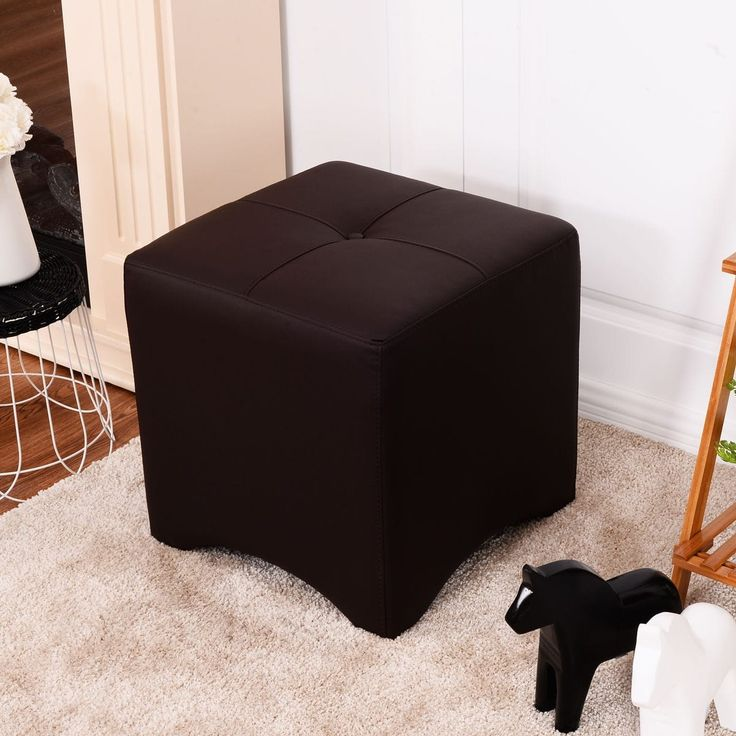 Costway PU Leather Square Cube Ottoman FootStool Rest Seating Home Furniture Brown New, Size Small