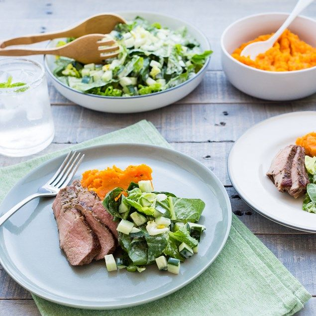 Pumpkin and carrot smash is a sweet side to this succulent lamb.