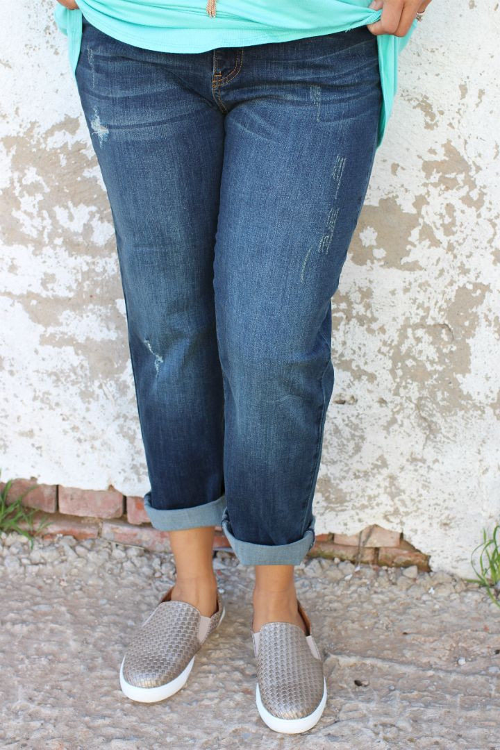 One Faith Boutique - The Blair Light Distressed Boyfriend Jeans ~ Dark Denim ~ Sizes 12-18, $39.00 (https://www.onefaithboutique.com/new-arrivals/the-blair-light-distressed-boyfriend-jeans-dark-denim-sizes-12-18/)