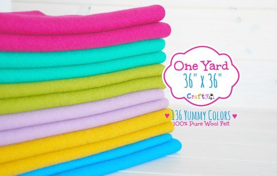 100 Pure Wool Felt In 136 Yummy Colors Have A Large Project In Mind This 100 Wool Felt Piece Is Perfect For A Wool Felt Fabric Wool Felt Craft Supplies