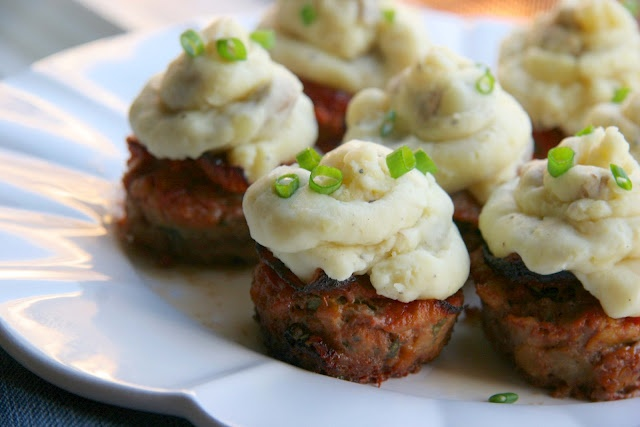 Meatloaf and Mashed potato cupcakes. Used my Aunt Pat's foolproof meatloaf recipe - fun way to have dinner, plus the meatloaf doesn't take long to cook!
