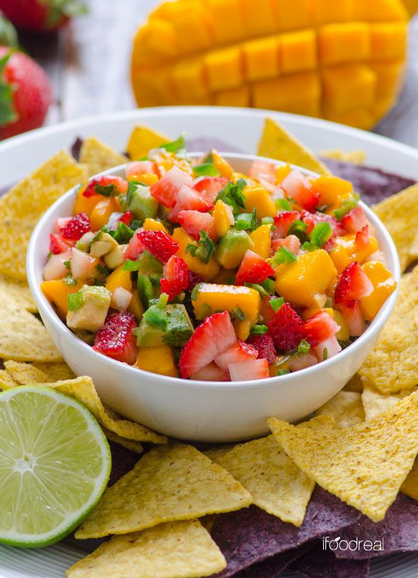 Strawberry Mango Salsa Recipe -- Fresh, sweet and spicy salsa that goes well with tortilla chips or fish and pork.