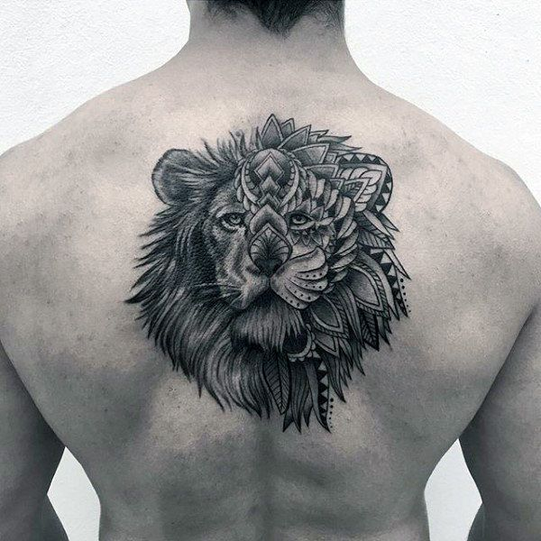 50 Lion Back Tattoo Designs For Men Masculine Big Cat Ink Ideas