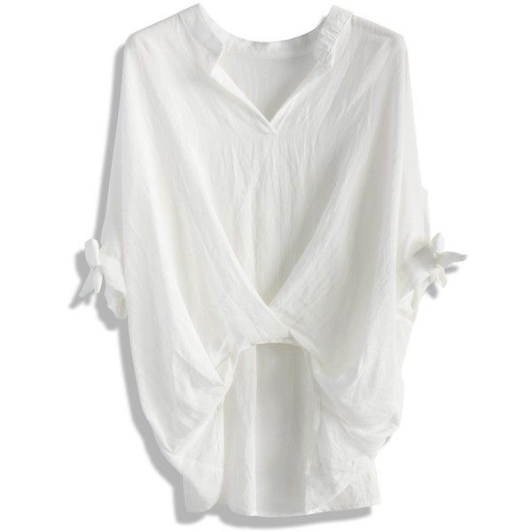 Chicwish Casual Twist Smock Top in White (50 AUD) ❤ liked on Polyvore featuring tops, t-shirts, white, batwing t shirt, white tee, cotton t shirt, white cotton tops and batwing top