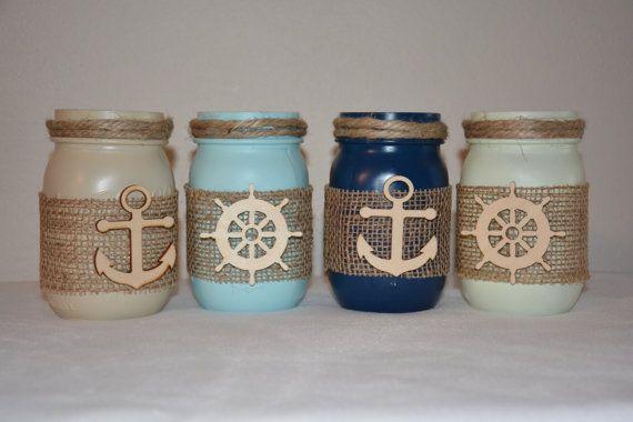 Nautical Painted Mason Jars Anchor Burlap Ship by TheSecretSparrow