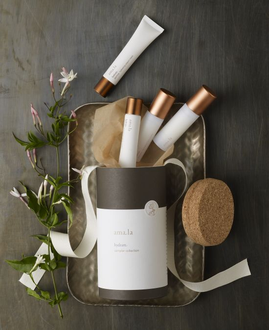 Beautiful product shot. Vertical lines broken up with the playfully arranged cosmetic products. Potential props: trays, ribbon, brushes, greenery