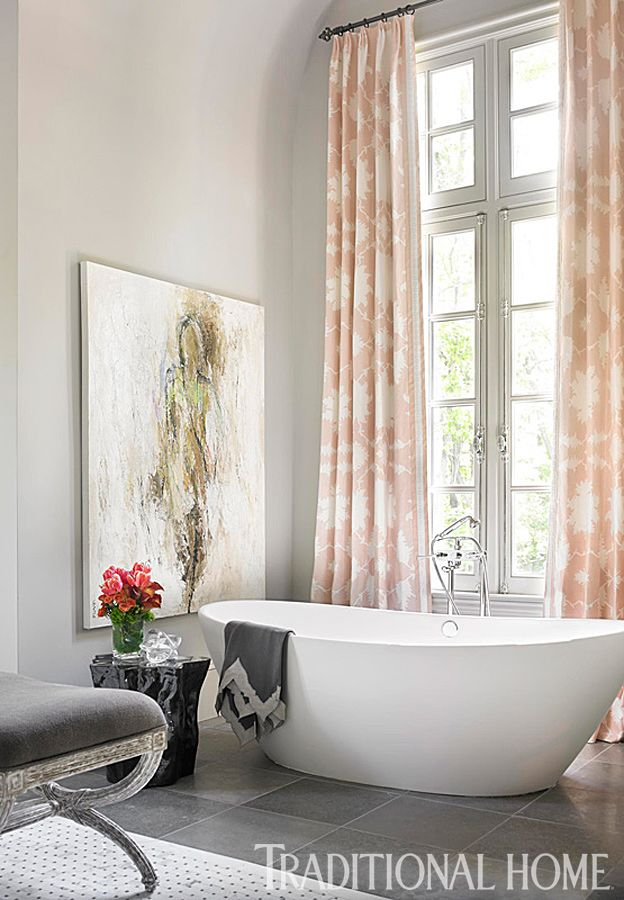 Graphic Blush Pink Window Treatments Add A Touch Of Pizazz To The Gray Bathroom Photo Emily