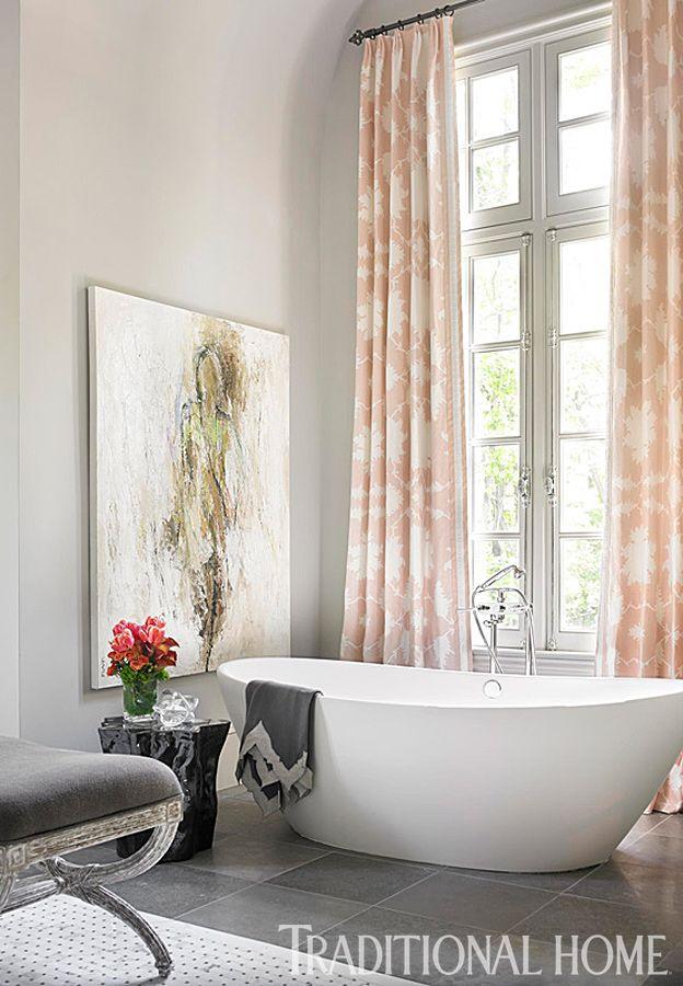 Blush Pink Bathroom Decor : Graphic blush pink window treatments add a touch of pizazz