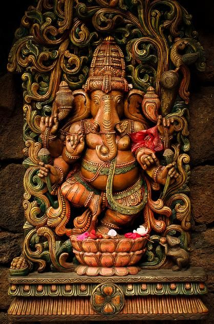 Lord Ganesh, the Indian Conception: Very well done sculpture of Lord Ganesh. Would not be used in a temple for worship but in homes, perhaps. This representation respects the Divinity associated with Lord Ganesh.