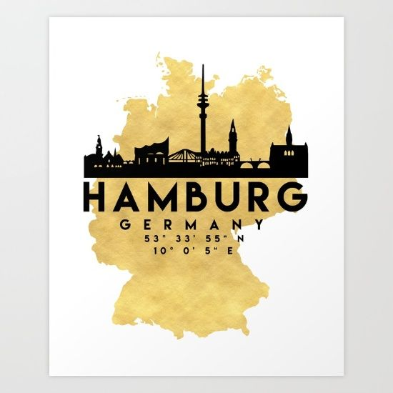 HAMBURG GERMANY SILHOUETTE SKYLINE MAP ART - The beautiful silhouette skyline of Hamburg and the great map of Germany in gold, with the exact coordinates of Hamburg make up this amazing art piece. A great gift for anybody that has love for this city.  graphic-design digital typography illustration vector hamburg germany downtown silhouette skyline map coordinates souvenir gold deificus-art
