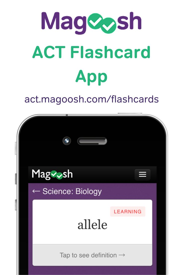 Free ACT Flashcards for iOS, Android, and Web. Learn Math, Science, and English concepts that you'll encounter on the ACT exam.