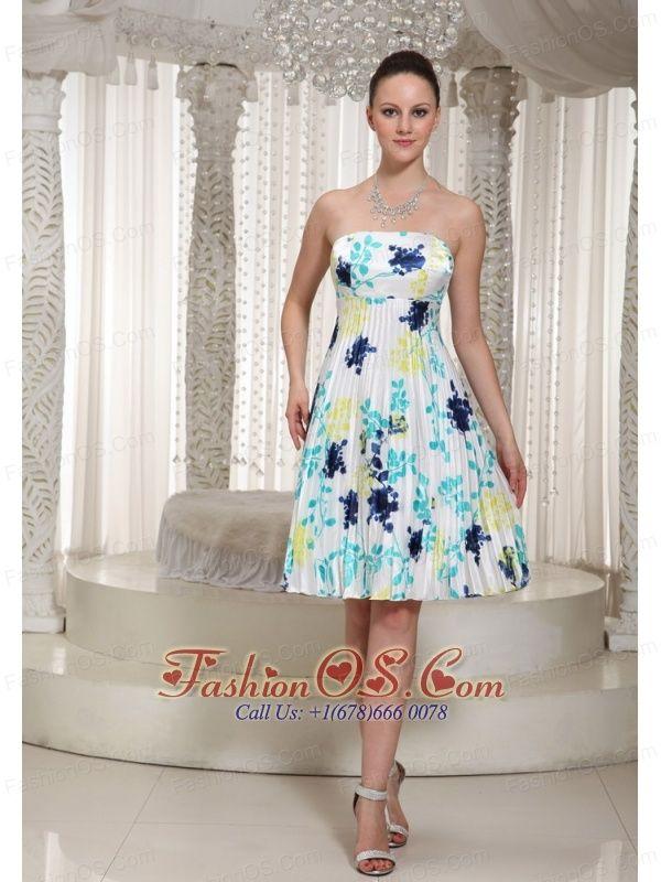 Elegant Prom Dress With Printing Strapless Neckline Knee-Length- $136.45  http://www.fashionos.com     2013 custom made prom celebrity dress | short prom dress in helena | anne robinson short prom dress |