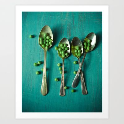 Peas Please Art Print by Olivia Joy StClaire - $19.00 organic peas, food photography, modern, whimsical, aqua table, vintage spoons, garden, kitchen art, vegetables, culinary, cook, fine art print, photography, home decor, wall decor