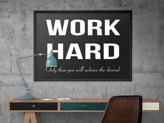Work Hard - PLAKAT typograficzny + RAMA