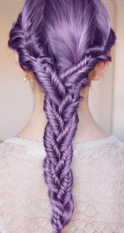 Fishtail braided fishtails, lavender hair.