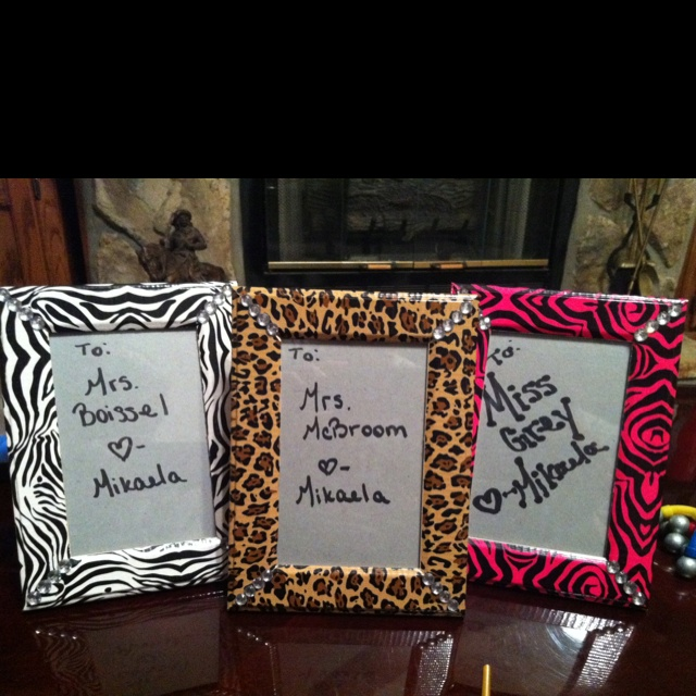 Printed duct tape, rhinestones, & dollar store picture frames. Easy and inexpensive Christmas gifts for teachers.