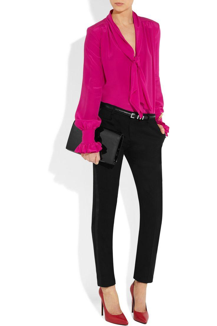 Saint Laurent |Silk crepe de chine pussy-bow hot pink blouse  #Fashion