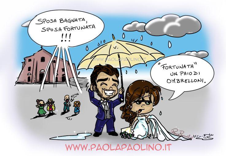 #Sposa bagnata, sposa fortunata? Sarà così?   #vignetta #matrimonio #avventurediunasposa #caricature