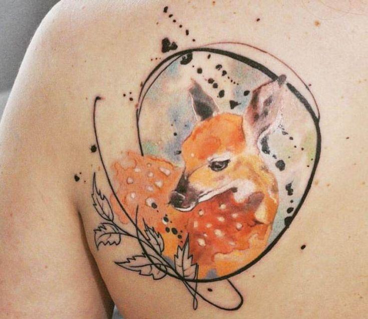 Little Doe tattoo by Aleksandra Katsan