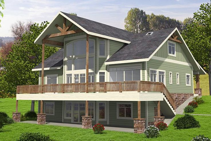 HOUSE PLAN 039-00662 – This gorgeous Lakefront house plan is highlighted with an abundance of window views and a basement foundation. The interior floor plan features approximately 4,603 square feet of living space with five bedrooms and three plus baths.
