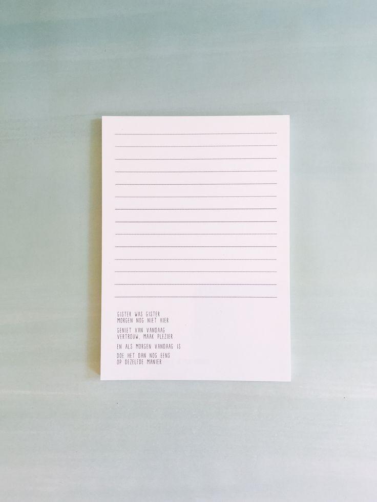 Gewoon JIP.  Notitieblok  |Gedichten | Kaarten | Posters | Stationery | & meer © sinds feb 2014 | Quote | Om al onze ideeën, plannetjes, dromen en hersenspinsels het eeuwige leven te geven.    Het blok bevat vijftig pagina's met lijnen en tien verschillende gedichtjes. Het notitieblok is gemaakt van 120 grams duurzaam papier met het FSC kenmerk. Met onder andere de gedichtjes. Omdat ik het wil // Hallo zon // Gister was gister // Iets in je kop // Durf doe // Een wolk