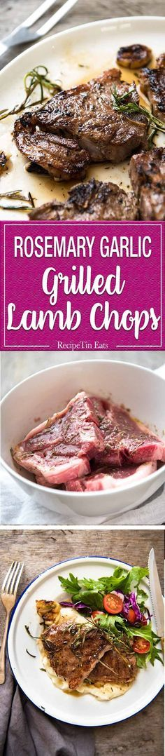 Rosemary Garlic Grilled Lamb Chops - A simple marinade infuses this with fantastic flavour! Use the marinade for any quick-cooking cut of lamb - chops or steaks. www.recipetineats.com