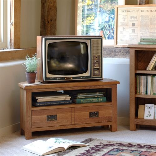 "Lyon Petite Oak Corner TV Unit with 1 Drawer - up to 40"" (P376) with Free Delivery 