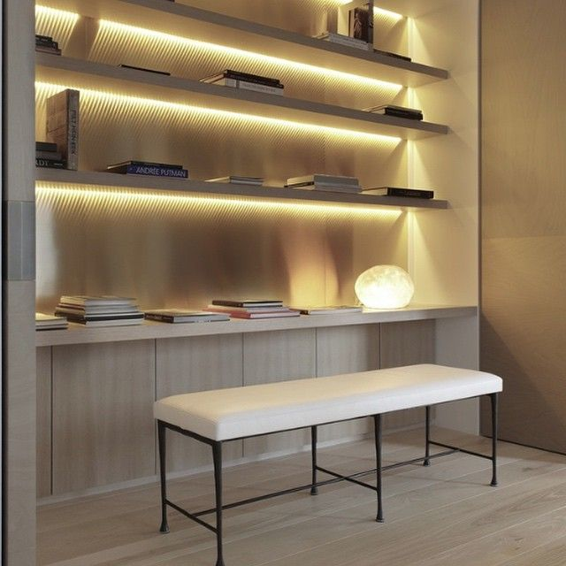 Love this joinery detail • understated luxury • texture timber lighting shelving