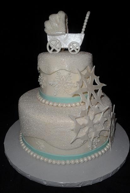 Snowflake Baby Shower Cake!