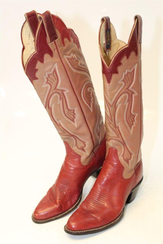 5e25f71f1aa Panhandle Slim Sanders Womens 7.5 B VINTAGE TALL Leather Cowboy ...