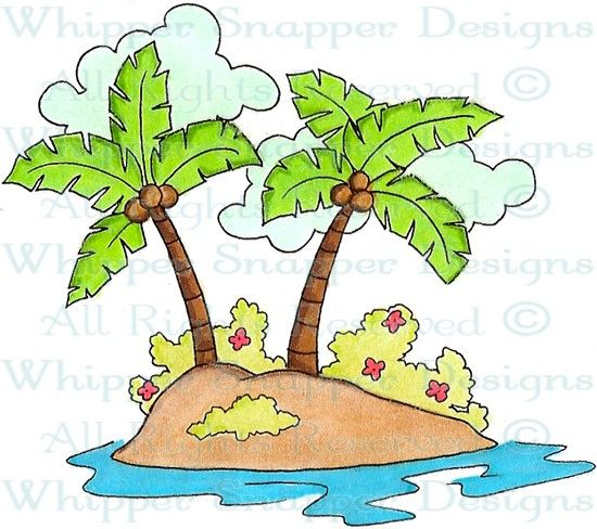 Palm Island - Tropical - Rubber Stamps