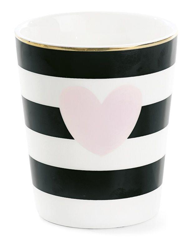 Mok wit met zwarte strepen en roze hart (Ø8cm)
