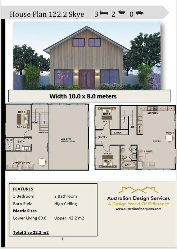 122 2 M2 Barn Style House Plan 3 Bed Australian House Etsy Barn Style House Plans Barn House Plans Barn Style House