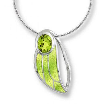 Nicole Barr Silver, Peridot and Green Enamel Leaf Pendant