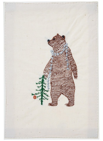 bear with tinsel embroidered stationery from coral & tusk