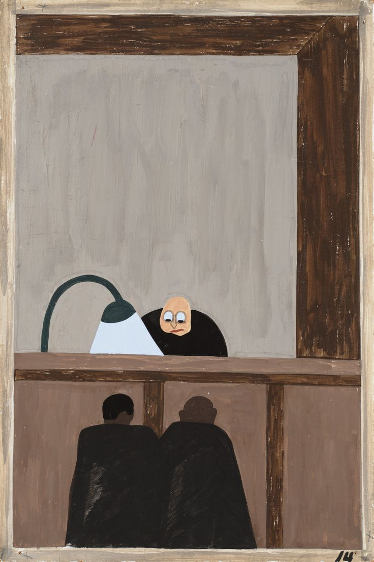 Jacob Lawrence: Among the social conditions that existed which was partly the cause of the migration was the injustice done to the Negroes in the courts (1940-41)