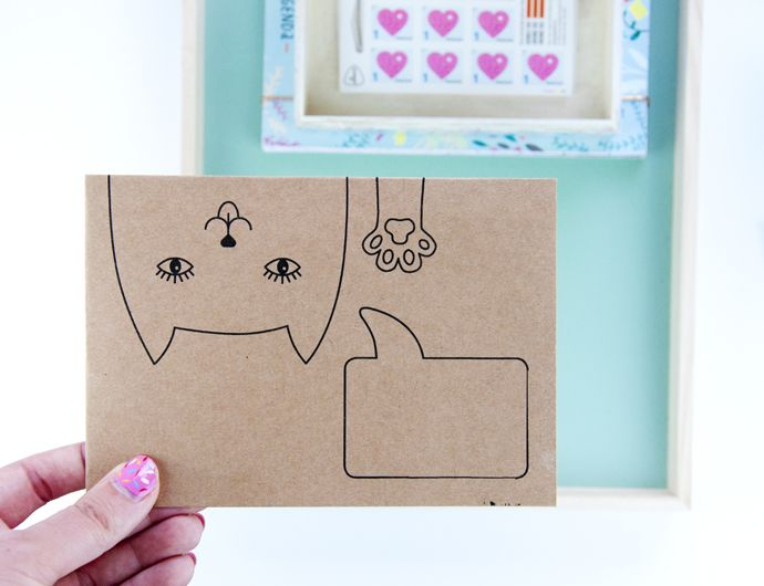 Kitty snail mail will be cute for Lori.  I printed the pattern