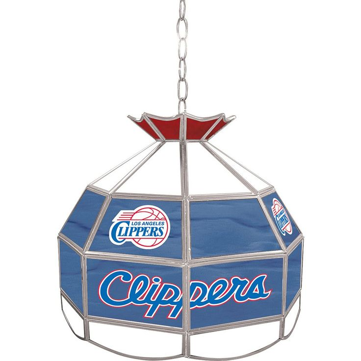 """Los Angeles Clippers 16"""" Tiffany-Style Lamp, Multicolor"""