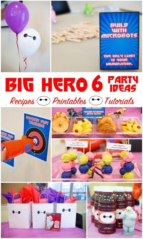 Big Hero 6 Party Ideas with recipes, tutorials, and FREE printables! #BigHero6Release #ad