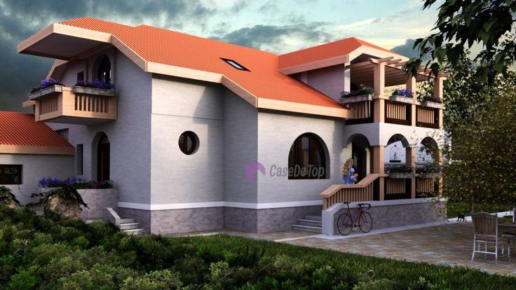 Locuinta parter + mansarda- Vedere spre terasa din spate   House with a classic attic design-  View of the backyard terrace  