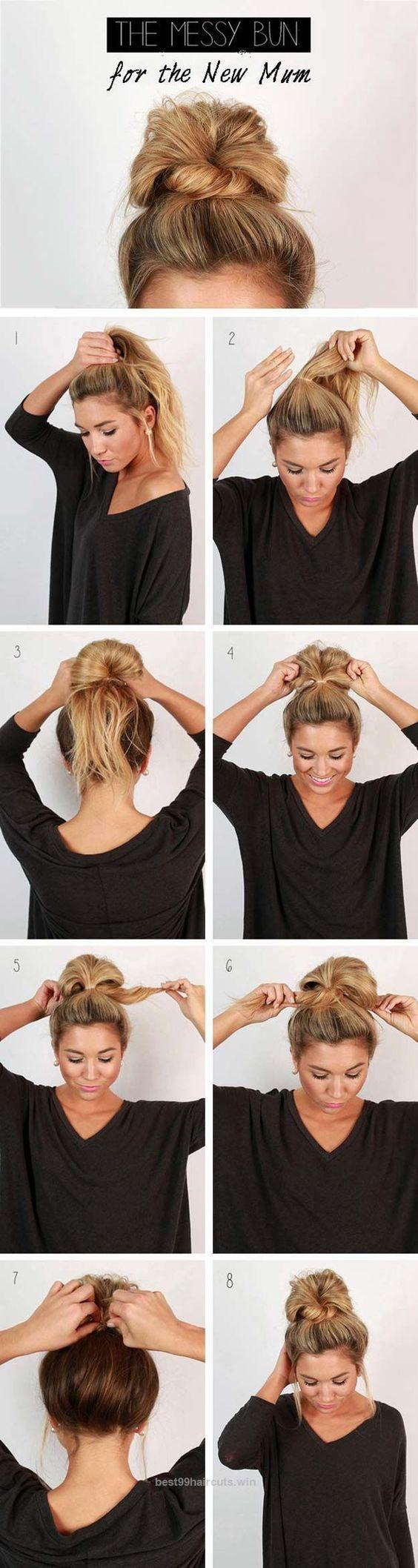 25 + › Coole und einfache DIY-Frisuren – unordentlicher Brötchen – schnelle und einfache Ideen für Back to Scho