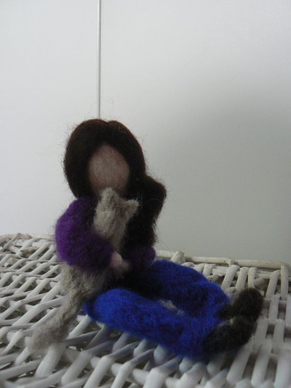 Needle felted doll 'Girl with Cat' available at www.etsy.com/lizziedoodlesnz