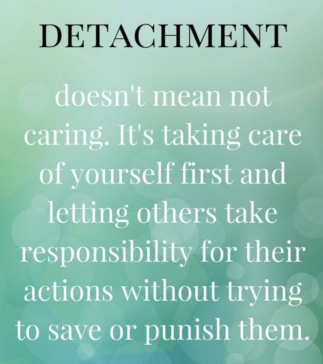 Detachment. Removing one's self from a destructive environment without punitive or vengeful motives. Focusing on one's own self care and improvement.