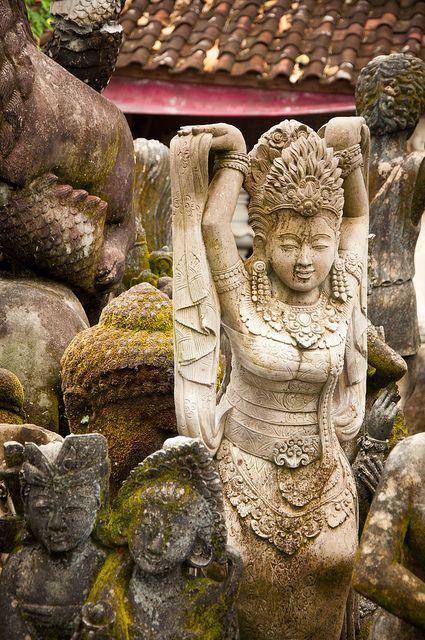 carving garden by raspberrytart, Murda Ukiran Patung Batu (stone carving) Batubulan, Bali, Indonesia