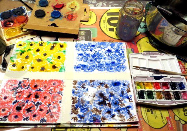 Sugar watercolor painting sokerimaalaus