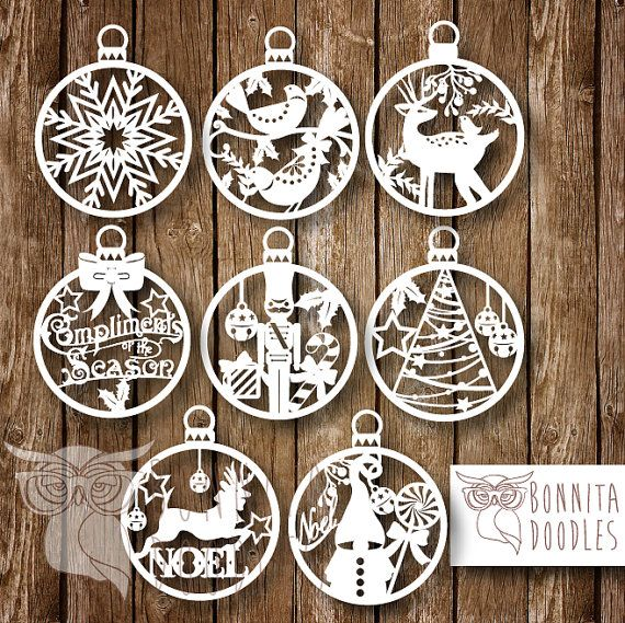 Christmas Baubles set of 8 can be resized by BonnitaDoodles