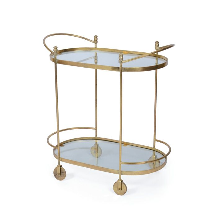 Luxury Gold Oval Bar Cart