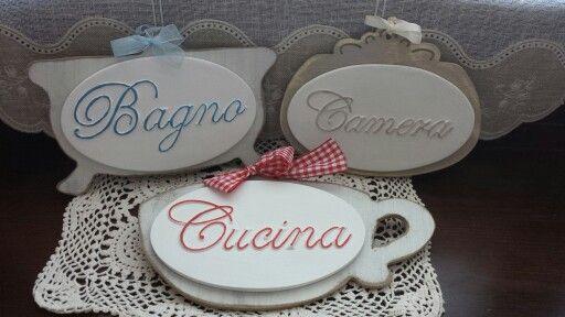 Targhette con scritte applicate di gesso Bagno Cucina Camera  L'Altalena di Roberta - Creazioni ...