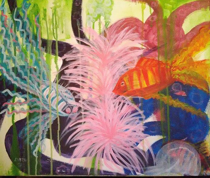 Tri chobotnice. Plátno 50 x 60 cm -akryl