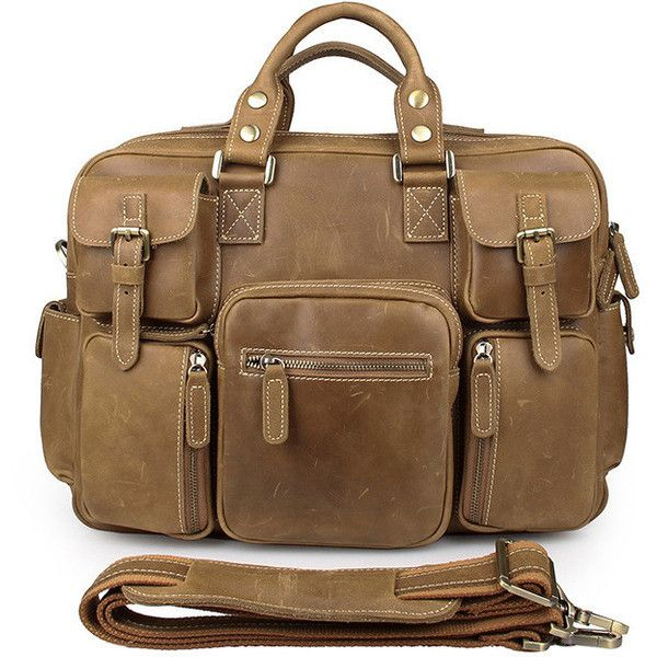 Men's Business Casual Light Brown Crazy Horse Leather Briefcase ($239) ❤ liked on Polyvore featuring men's fashion, men's bags, men's briefcases, mens document bag, mens briefcase and mens leather briefcase